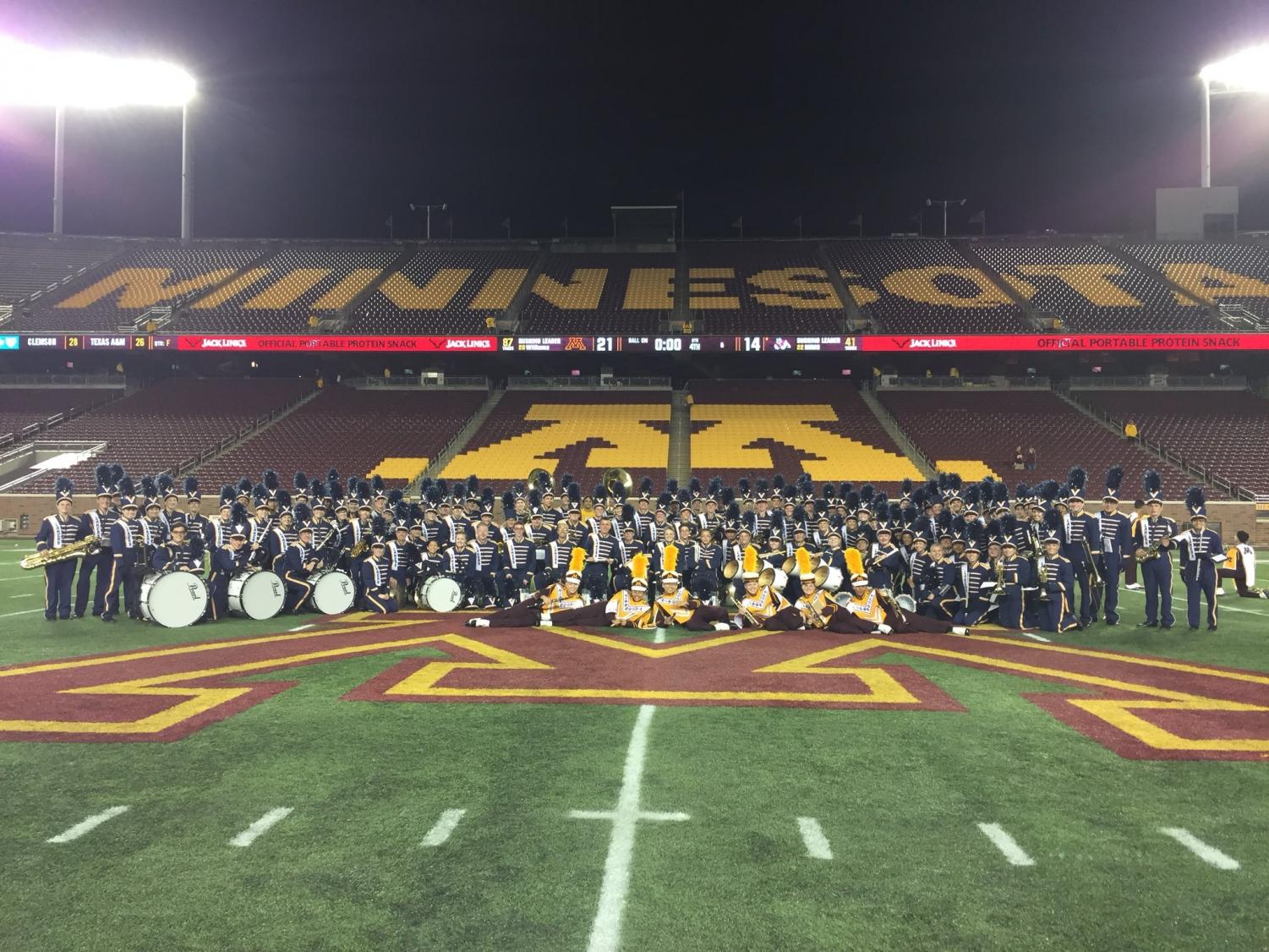 The Prior Lake Marching Band at TCF Stadium on High School Band Day.