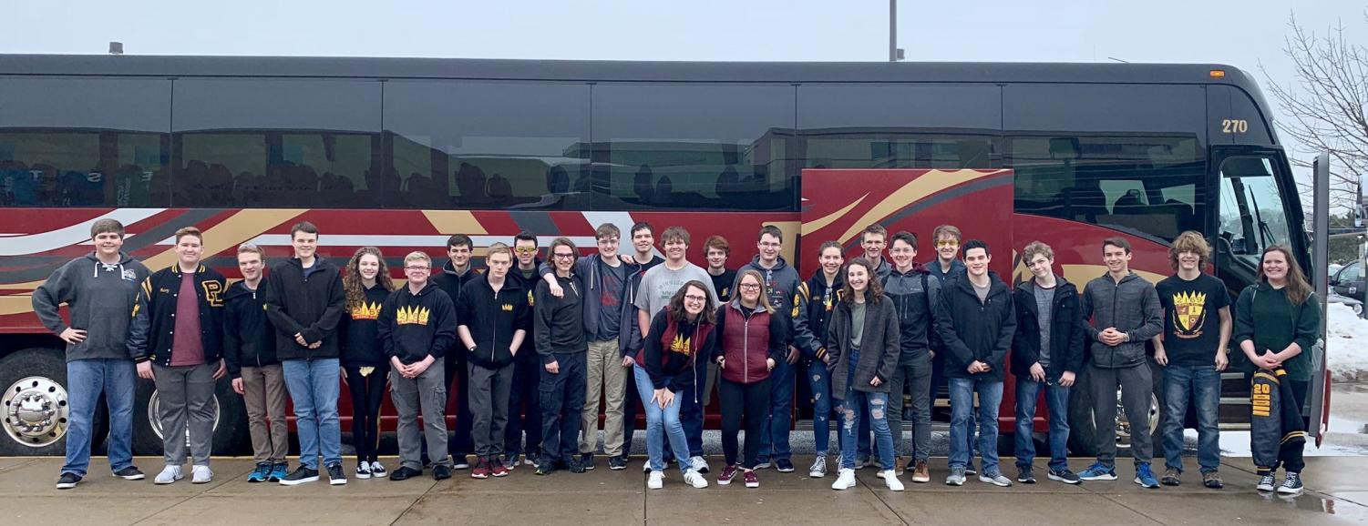 Prior Lake Robotics Team as they leave for their competition in Grand Forks!